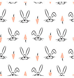 seamless pattern with cute hand drawn rabbits and vector image