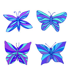 set bright purple blue butterflies color vector image