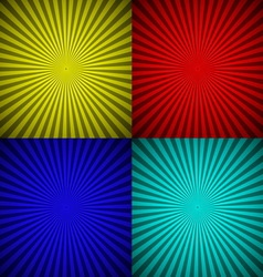 Set colourful radial rays abstract background vector