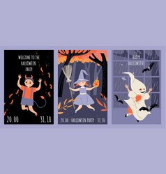 set invitation cards for halloween party vector image