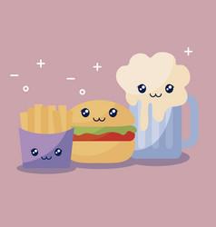 set of delicious hamburger and fast food kawaii vector image