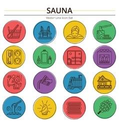 Set of sauna line icon vector
