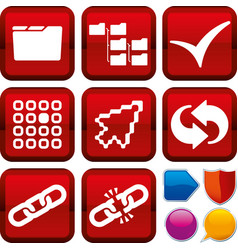 Set operating system icons on square buttons vector