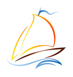 Ship with a sail on waves vector