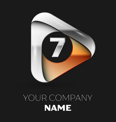 silver number seven logo in golden-silver triangle vector image