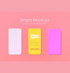 simple phone mockups of minimalist style vector image
