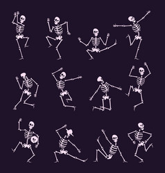 skeleton party undead with skull and bones vector image