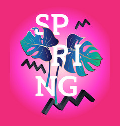 spring poster in style memphis vector image