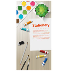 stationery background with school supplies vector image