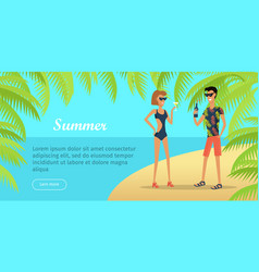 summer vacation conceptual flat web banner vector image