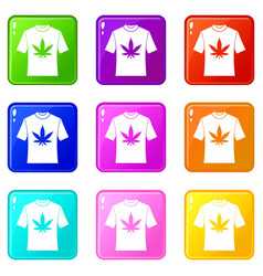 T-shirt with print of cannabis icons 9 set vector