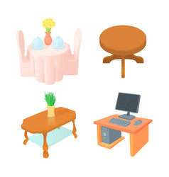 table icon set cartoon style vector image