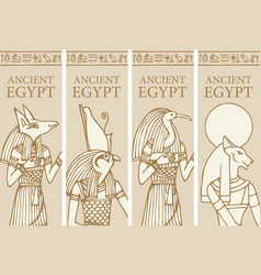 Travel banners with deities ancient egypt vector