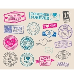Vintage postage stamps set romantic date vector