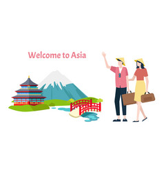 welcome to asia people man and woman arrived vector image