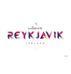 Welcome to reykjavik iceland card and letter vector