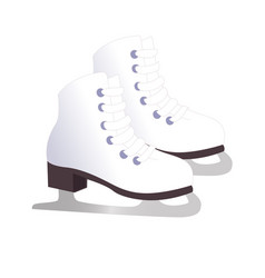 White classic ice figure skates sport equipment vector