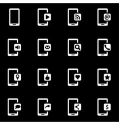 White mobile icon set vector