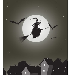 Witch flying on besom vector