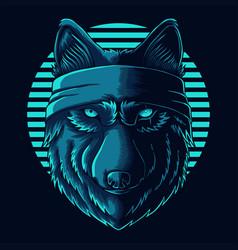 Wolf head wear bandana vector