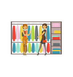 Women choosing dresses during shopping beautiful vector