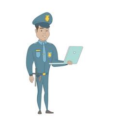 young hispanic policeman using a laptop vector image