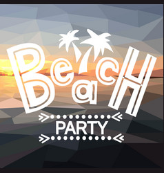 beach party with polygonal sunset vector image vector image