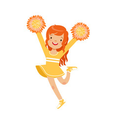 cute little red haired girl dancing with yellow vector image