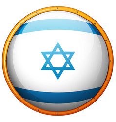 Israel flag on round button vector