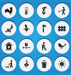Set of 16 editable plant icons includes symbols vector