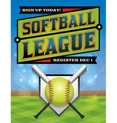 Softball League Banner vector image