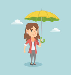caucasian insurance agent standing under umbrella vector image vector image