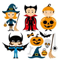 cheerful halloween set vector image vector image