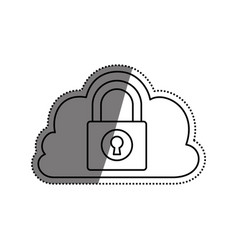 cloud padlock security vector image vector image