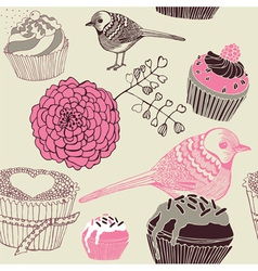Cupcakes Decorative Pattern vector image vector image