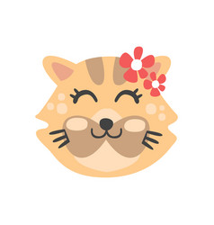 cute cat head with closed eyes funny cartoon vector image