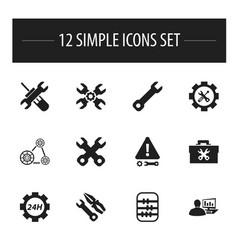 Set of 12 editable service icons includes symbols vector