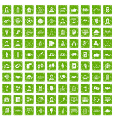100 team icons set grunge green vector image vector image
