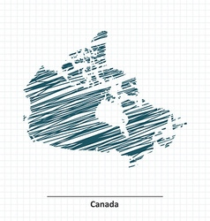 Doodle sketch of canada map vector