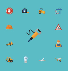 flat icons pneumatic hardhat excavator and other vector image