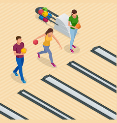 isometric bowling center interior with game vector image vector image