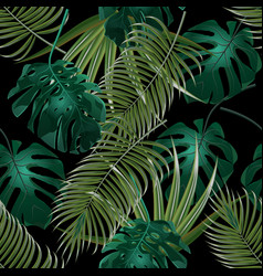jungle thickets of tropical palm leaves seamless vector image vector image
