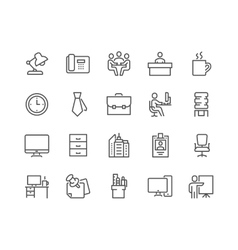 Line office icons vector