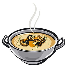 soup with mushrums vector image