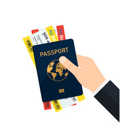 boarding pass and passport in hand vector image vector image