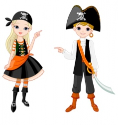 halloween pirate couple pointing vector image