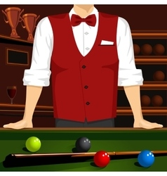 man leaning on a pool table with cue stick vector image