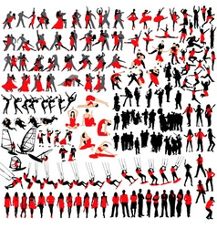 people at leisure silhouettes vector image vector image
