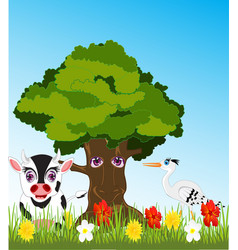 tree and animals on glade vector image vector image