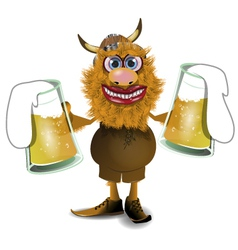 viking with beer vector image